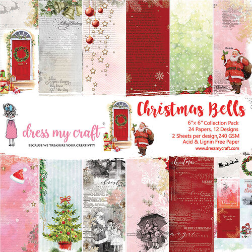 Dress My Craft - Christmas Bells Collection - 6 x 6 Paper Pad
