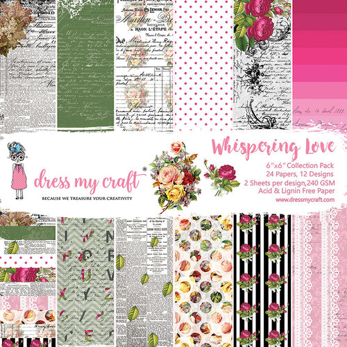 Dress My Craft - Whispering Love Collection - 6 x 6 Paper Pad