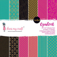 Dress My Craft - Opulent Collection - 12 x 12 Paper Pad with Foil Accents