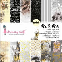 Dress My Craft - 12 x 12 Paper Pad - Mr. and Mrs.