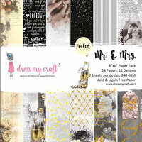 Dress My Craft - 6 x 6 Paper Pad - Mr. and Mrs.
