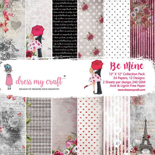 Dress My Craft - Be Mine Collection - 12 x 12 Paper Pad