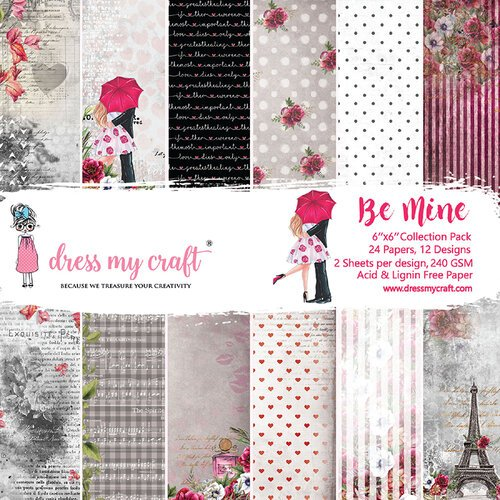 Dress My Craft - Be Mine Collection - 6 x 6 Paper Pad