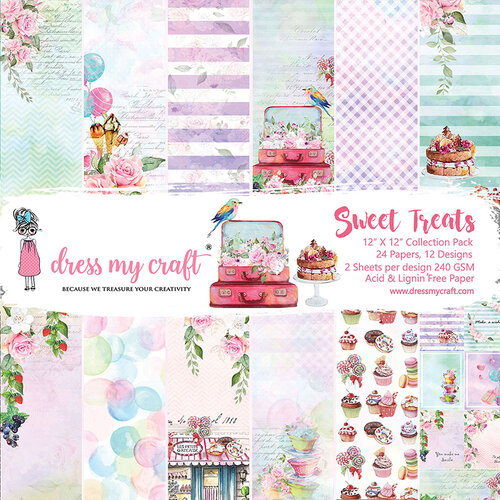 Dress My Craft - Sweet Treats Collection - 12 x 12 Paper Pad