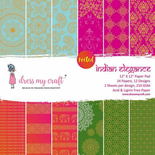Dress My Craft - 12 x 12 Paper Pad - Indian Elegance