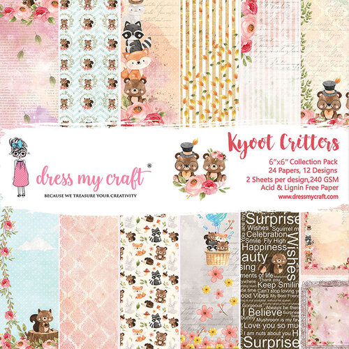 Dress My Craft - 6 x 6 Paper Pad - Kyoot Critters