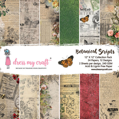 Dress My Craft - Botanic Scripts Collection - 12 x 12 Paper Pads