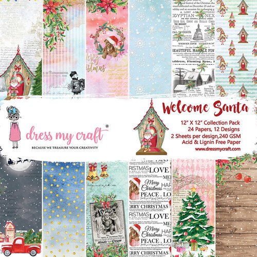 Dress My Craft - Welcome Santa Collection - 12 x 12 Paper Pad