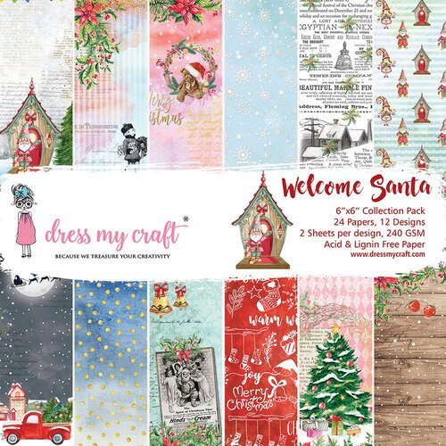 Dress My Craft - Welcome Santa Collection - 6 x 6 Paper pad