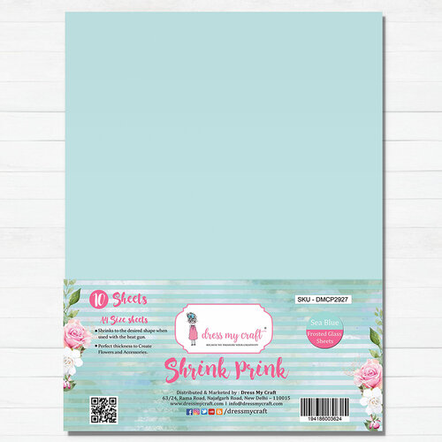 Dress My Craft - A4 - Shrink Prink - Sea Blue Frosted Glass Sheets - 10 Pack