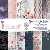 Dress My Craft - Scientific Love Collection - 12 x 12 Paper Pack