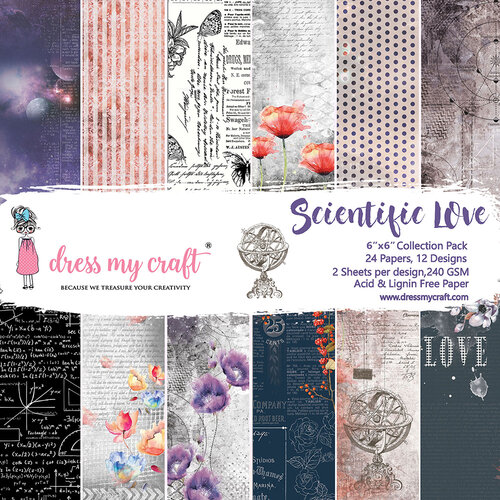 Dress My Craft - Scientific Love Collection - 6 x 6 Paper Pack