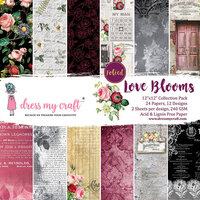 Dress My Craft - 12 x 12 Paper Pad - Love Blooms