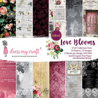 Dress My Craft - 6 x 6 Paper Pad - Love Blooms