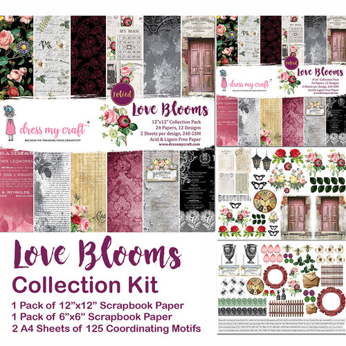 Dress My Craft - 12 x 12 Collection Kit - Love Blooms