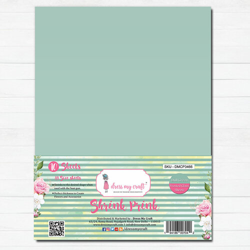 Dress My Craft - A4 - Shrink Prink - Dull Green Frosted Glass Sheets - 10 Pack