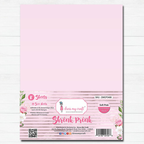 Dress My Craft - A4 - Shrink Prink - Soft Pink Frosted Glass Sheets - 10 Pack