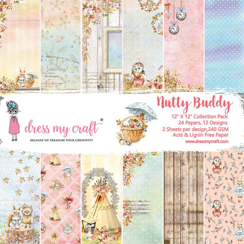 Dress My Craft - Nutty Buddy Collection - 12 x 12 Paper Pad