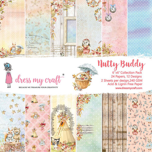 Dress My Craft - Nutty Buddy Collection - 6 x 6 Paper Pad