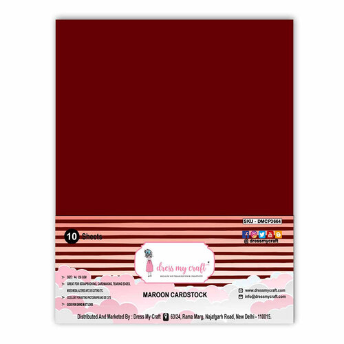 Dress My Craft - A4 Cardstock - Maroon - 10 Pack