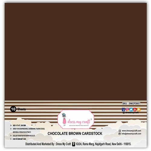 Dress My Craft - 12 x 12 Cardstock - Chocolate Brown - 10 Pack