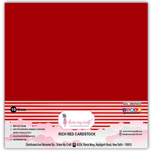 Dress My Craft - 12 x 12 Cardstock - Rich Red - 10 Pack