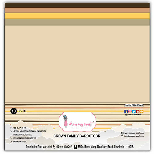 Dress My Craft - 12 x 12 Cardstock - Brown Family - 10 Pack
