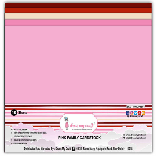Dress My Craft - 12 x 12 Cardstock - Pink Family - 10 Pack
