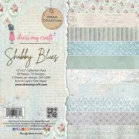 Dress My Craft - 12 x 12 Paper Pad - Shabby Blues