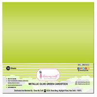 Dress My Craft - 12 x 12 Cardstock - Metallic Olive Green - 10 Sheets