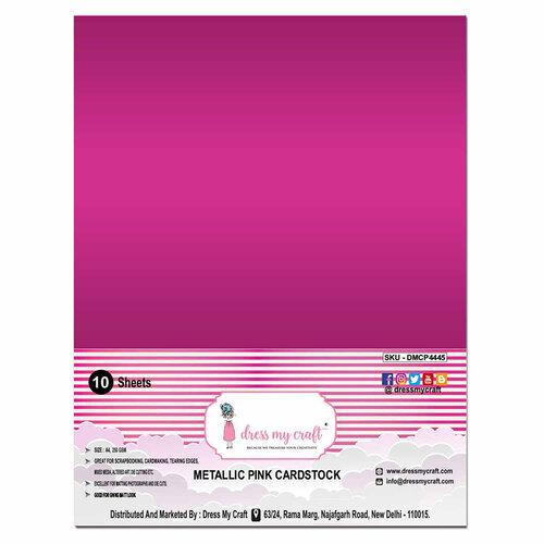 Dress My Craft - A4 Cardstock - Metallic Pink - 10 Sheets