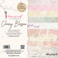 Dress My Craft - Dream Collection - 12 x 12 Paper Pad - Cherry Blossom