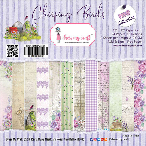 Dress My Craft - Chirping Birds Collection - 12 x 12 Paper Pad
