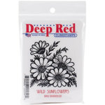 Deep Red Stamps - Cling Mounted Rubber Stamp - Wild Sunflowers