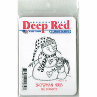 Deep Red Stamps - Cling Mounted Rubber Stamp - Snowman Hugs