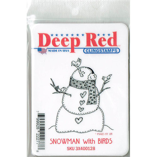 Deep Red Stamps - Cling Mounted Rubber Stamp - Snowman with Birds