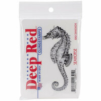 Deep Red Stamps - Cling Mounted Rubber Stamp - Seahorse