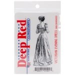 Deep Red Stamps - Cling Mounted Rubber Stamp - Victorian Evening Dress
