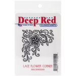Deep Red Stamps - Cling Mounted Rubber Stamp - Lace Flower Corner