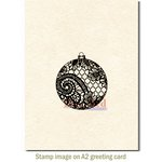 Deep Red Stamps - Christmas - Cling Mounted Rubber Stamp - Lace Ornament