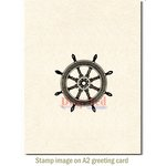 Deep Red Stamps - Cling Mounted Rubber Stamp - Ships Wheel