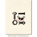 Deep Red Stamps - Cling Mounted Rubber Stamp - Nuts and Bolts