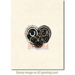 Deep Red Stamps - Cling Mounted Rubber Stamp - Mechanical Heart