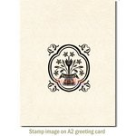 Deep Red Stamps - Cling Mounted Rubber Stamp - Folk Vase Accent