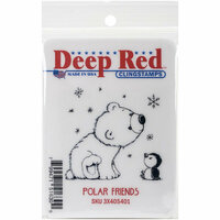 Deep Red Stamps - Cling Mounted Rubber Stamp - Polar Friends
