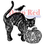 Deep Red Stamps - Halloween - Cling Mounted Rubber Stamp - Spooky Cat