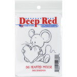 Deep Red Stamps - Cling Mounted Rubber Stamp - Big Heart Mousie