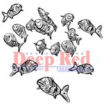 Deep Red Stamps - Cling Mounted Rubber Stamp - School of Fish