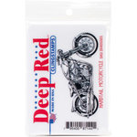 Deep Red Stamps - Cling Mounted Rubber Stamp - Hardtail Motorcycle