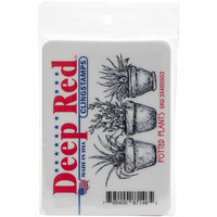 Deep Red Stamps - Cling Mounted Rubber Stamp - Potted Plants